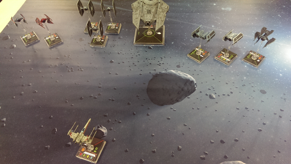 X-Wing on Something Geeky space gaming mat